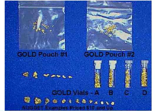Purchase Gold in Nugget, vials and pouch forms.